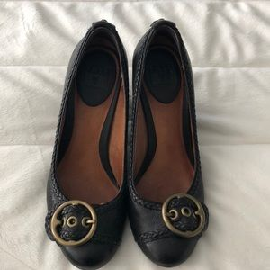 Frye Black Leather Wedges Size 5.5